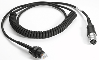 VC5090 RS232 Cable, LS3203ER, coiled, 9' extended, rugged amphenol connector